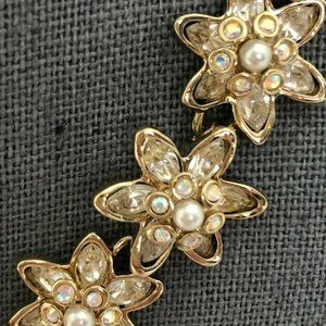 ST. JOHN Designer Bracelet Signed Pearl Rhinestone